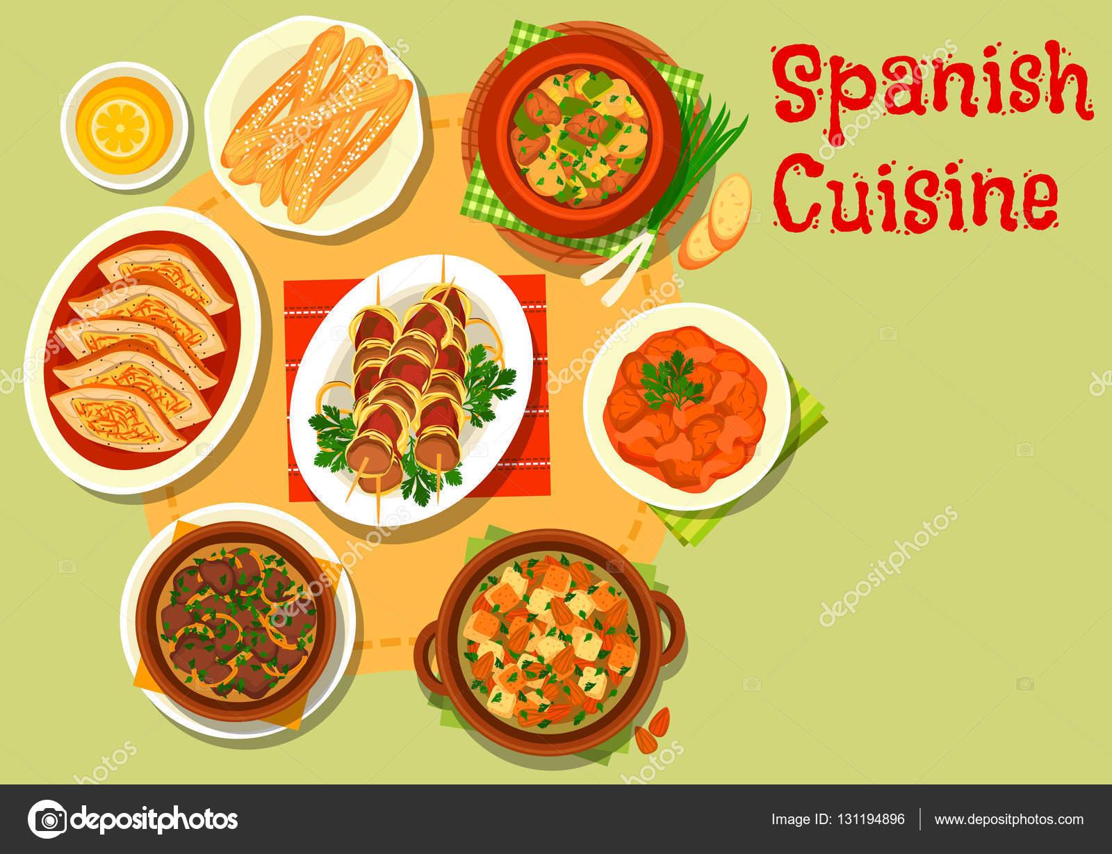 Icono de platos de carne rico cocina española — Vector de stock ...