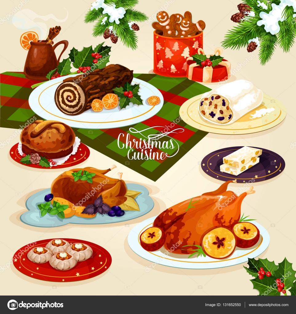 Cena di cucina di Natale per il disegno del menu festivo ...