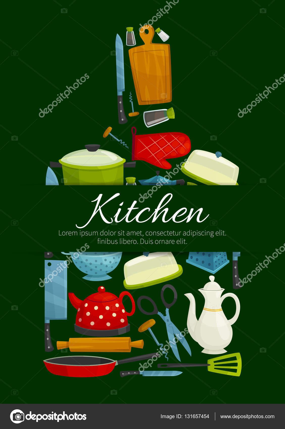 Tagliere con poster di utensili di cucina — Vettoriali Stock ...