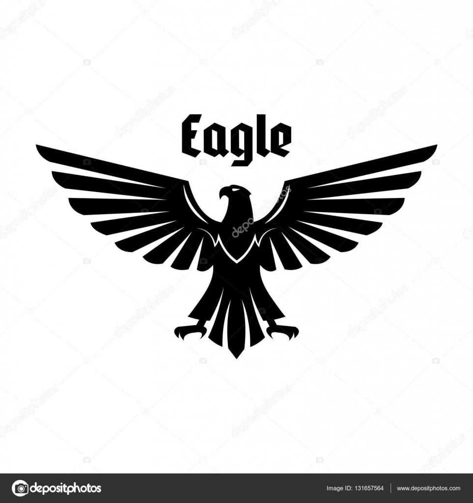 Heraldische Eagle Teken Van Zwarte Vogel Met Vleugels Open
