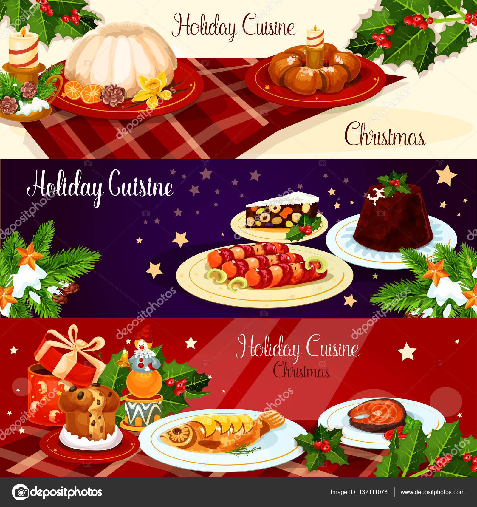 Weihnachten Abendessen Gerichte mit Holly und Geschenk-banner ...