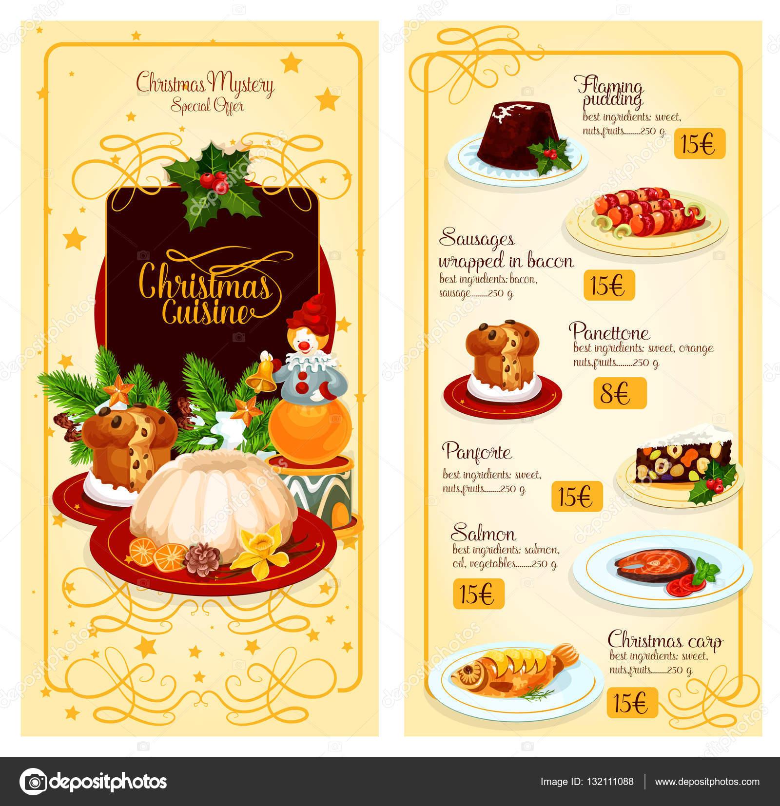 Diseño de plantilla de menú de Navidad cocina restaurante — Vector ...