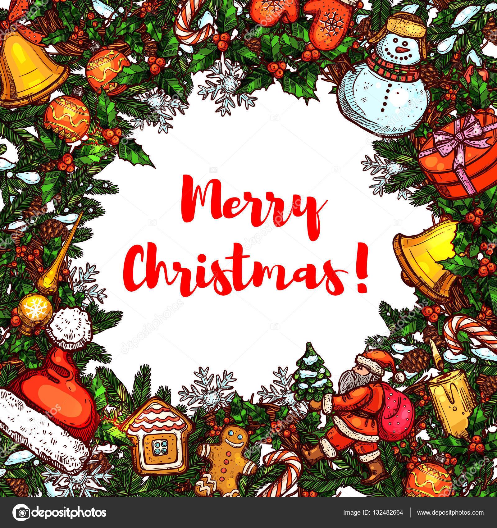 Weihnachten-Rahmen mit Neujahr Symbol Skizzen — Stockvektor ...