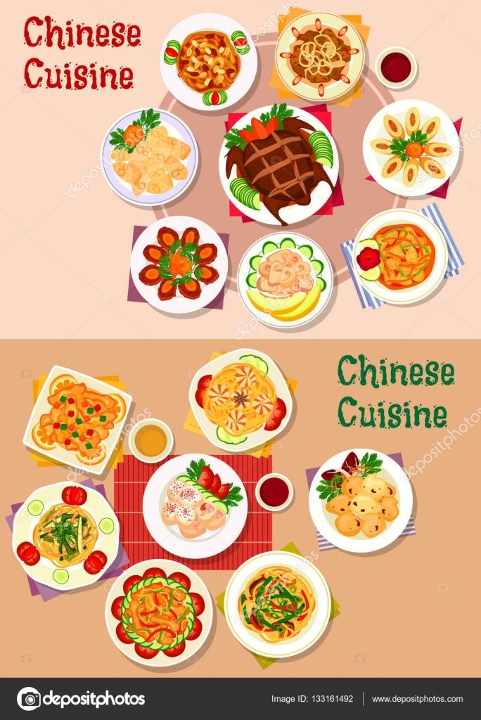 Chinesische Küche Gerichte Symbol für Menü-design — Stockvektor ...
