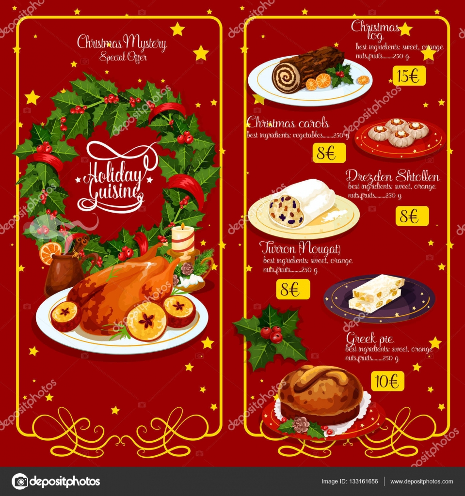 christmas dinner menu festive template design stock vector