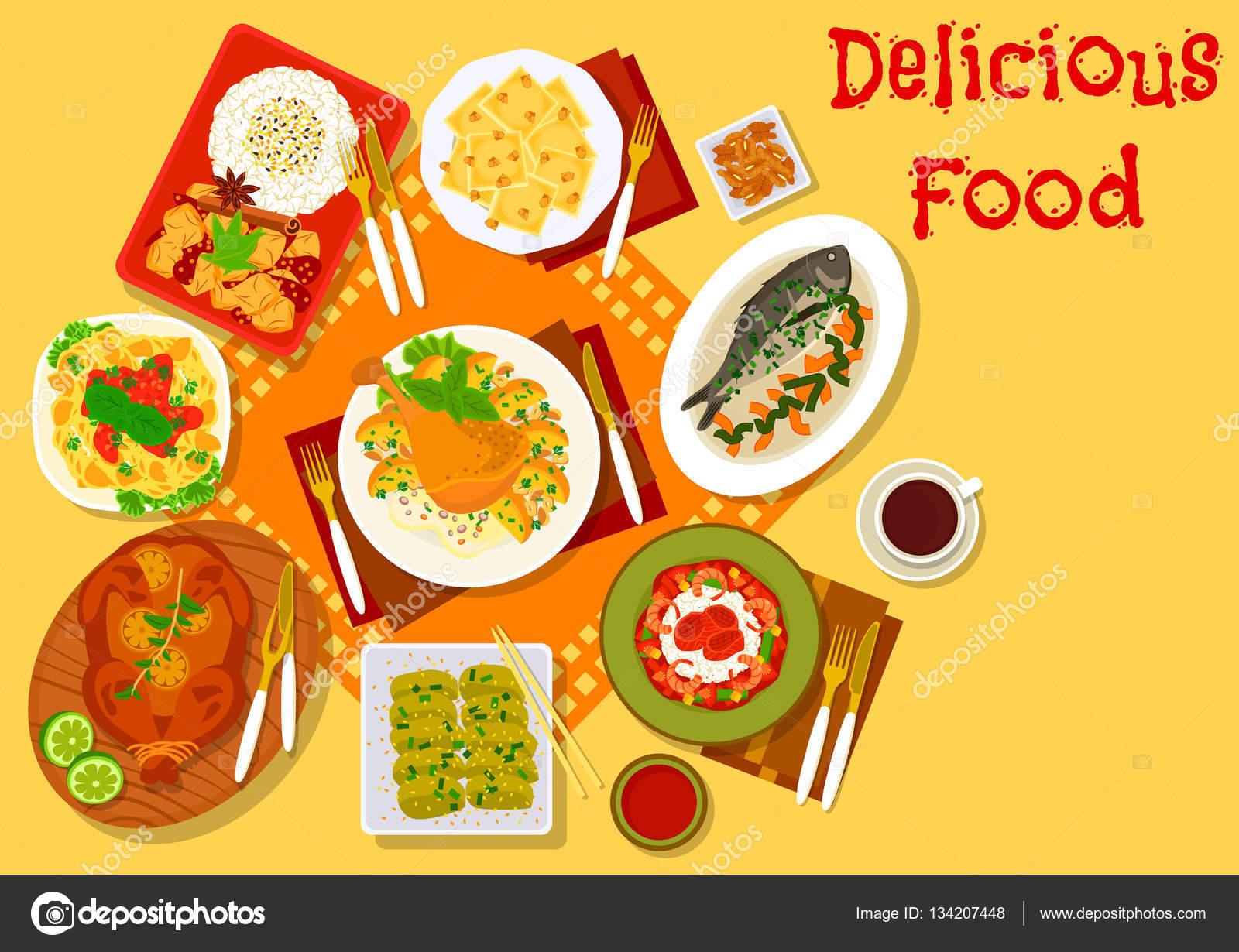 Icona del mondo cucina popolare pranzo piatti — Vettoriali Stock ...