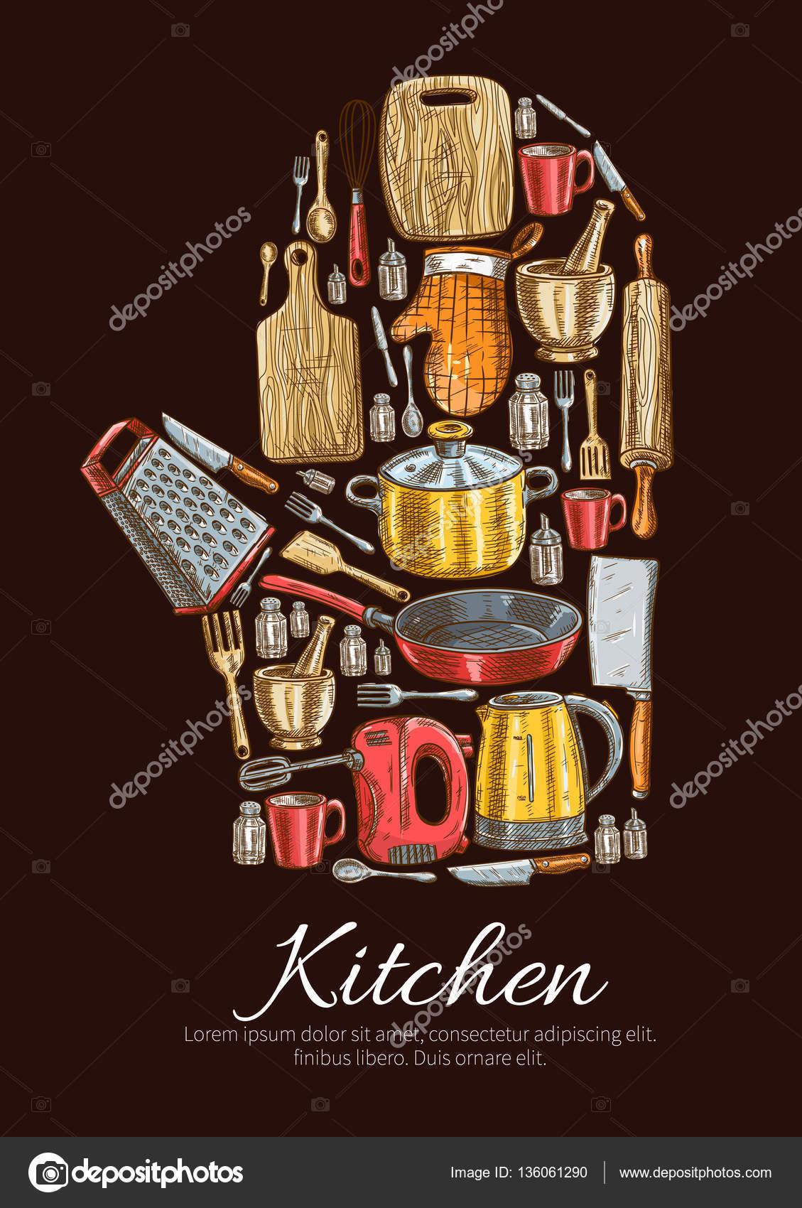Cartel de vector de utensilios de cocina y vajilla - Carteles de cocina ...