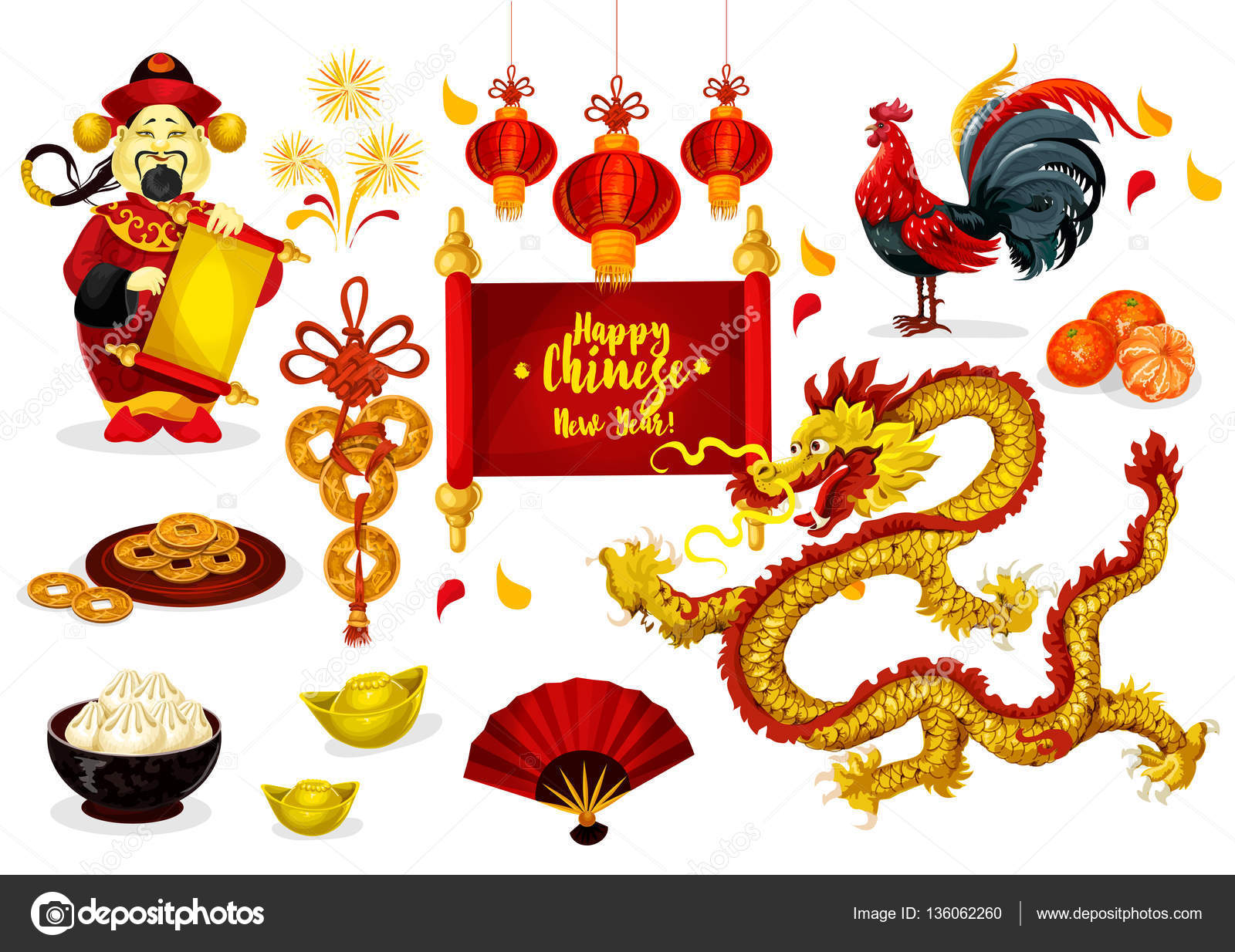 Chinese New Year Gruß Plakatgestaltung — Stockvektor © Seamartini ...