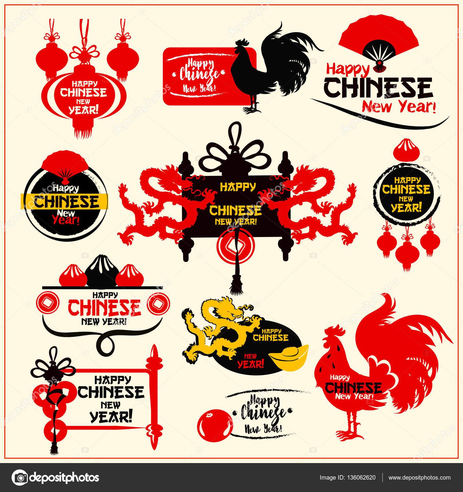 Chinese New Year-Abzeichen, Aufkleber und Stempel-set — Stockvektor ...