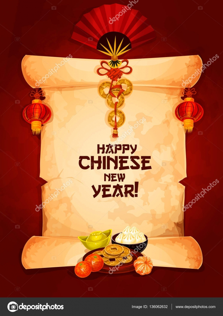 Chinese new year greeting card on paper scroll stock vector happy chinese new year wishes on old paper scroll with hanging red lantern and fan with chinese knot ornament and mandarin orange with gold ingot and m4hsunfo