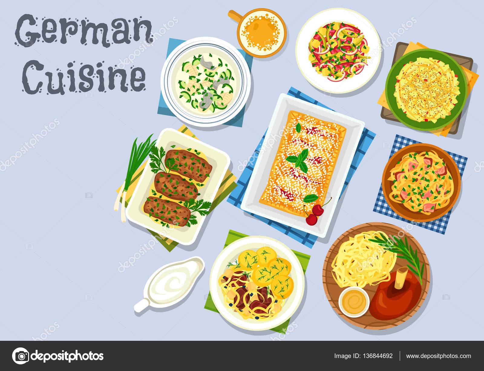 Deutsche Küche-Abendessen mit Bier und Nachtisch-Symbol ...