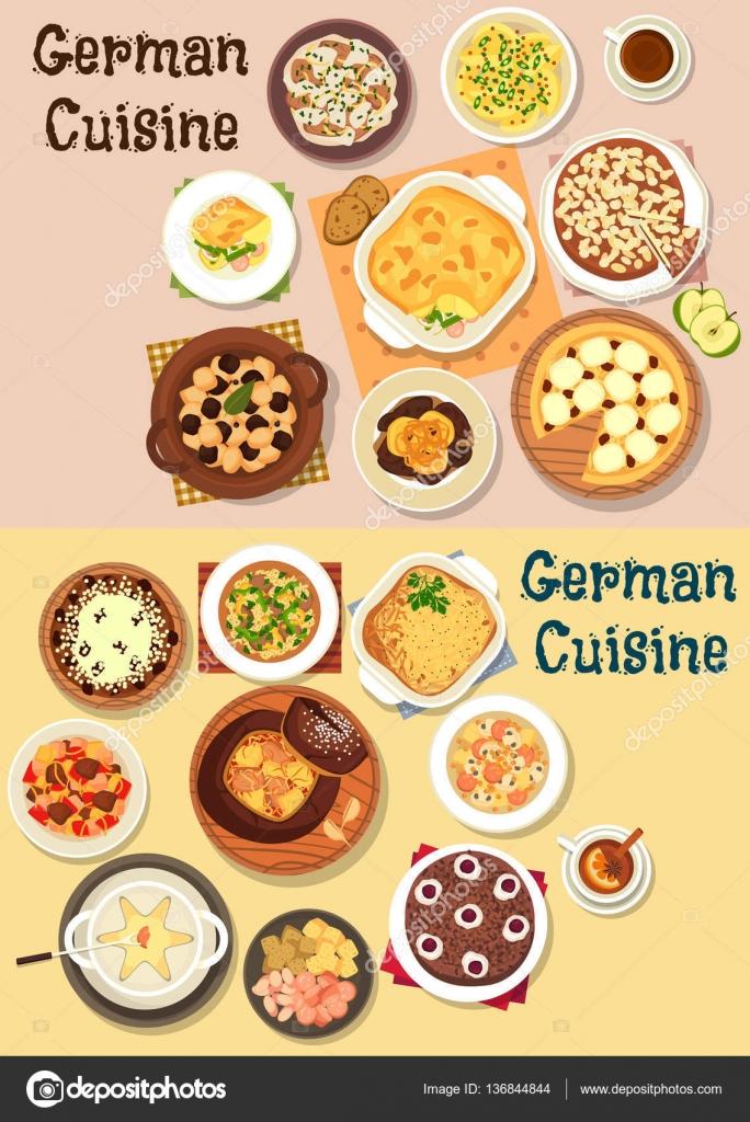 Icono de la cena de cocina alemana de diseño de menú — Vector de ...
