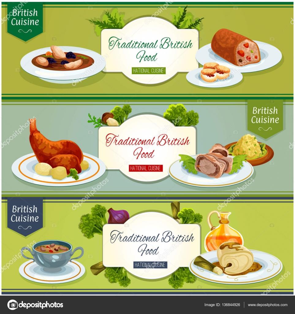 Britische Küche Nationalgerichte Banner-set design — Stockvektor ...