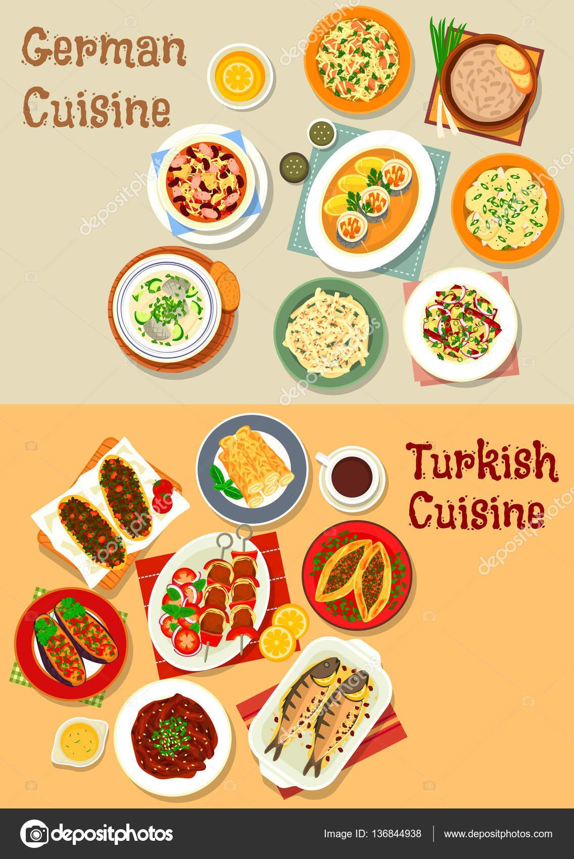Icono de la cocina alemana y turca para el diseño de menú — Archivo ...