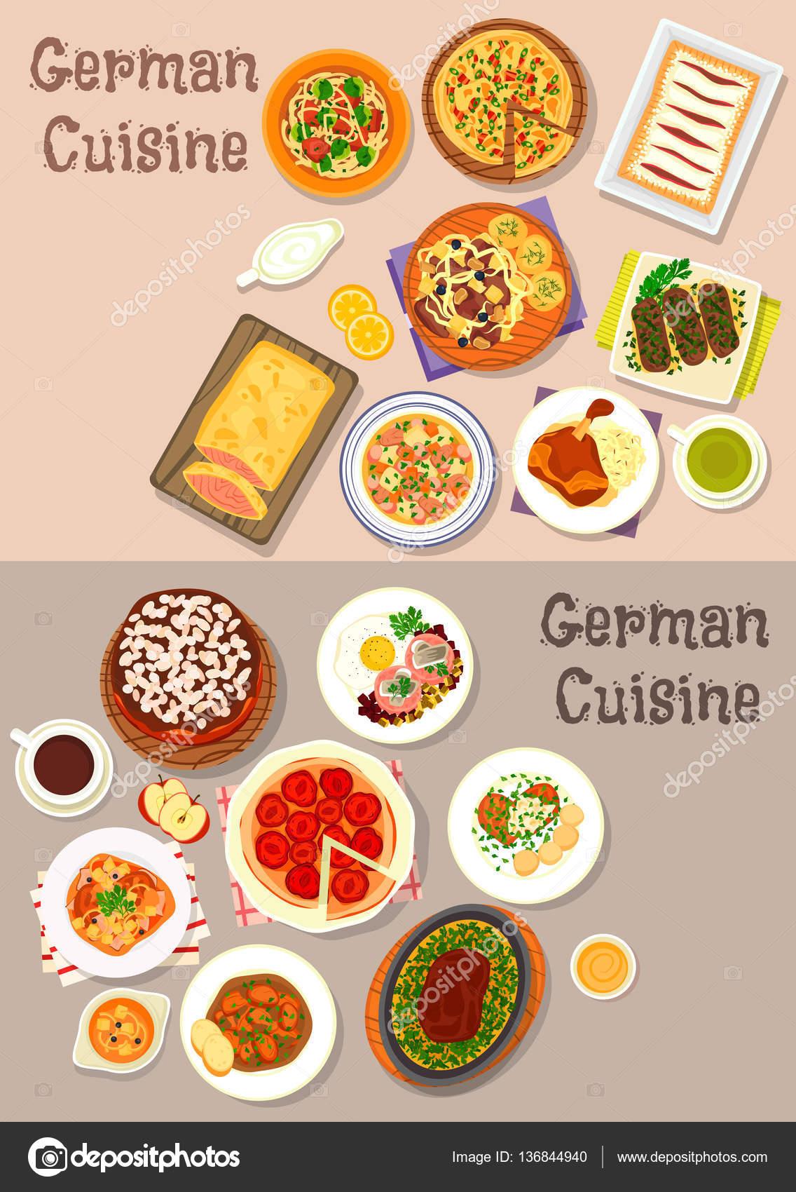 Dania Mięsne Dania Kuchni Niemieckiej Z Deser Zestaw Ikon