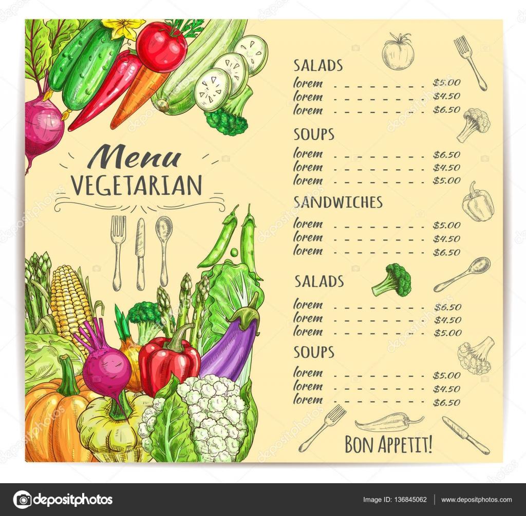 menu avec des legumes