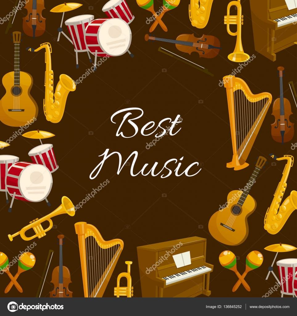 Cartel de música con instrumento musical redondo marco — Vector de ...