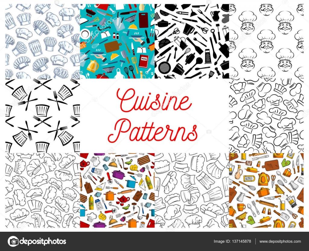 Cocina, utensilios de cocina, set de patrones de sombrero de chef ...
