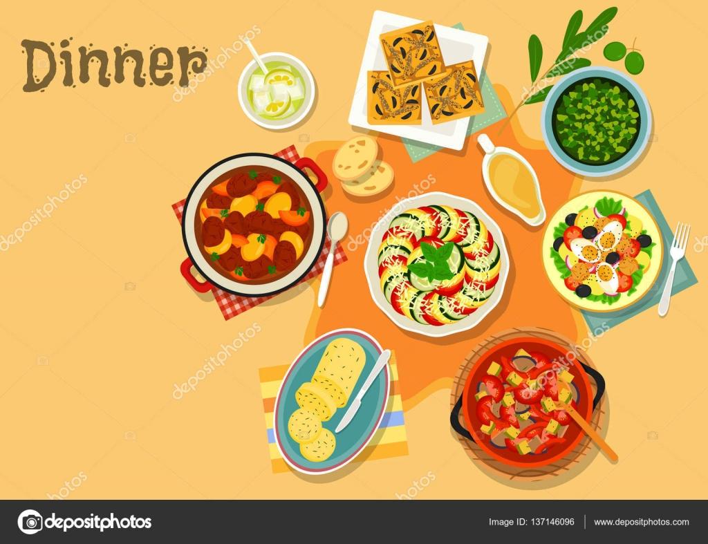 Ikona Potraw Kuchni Francuskiej Warzyw I Miesa Grafika Wektorowa