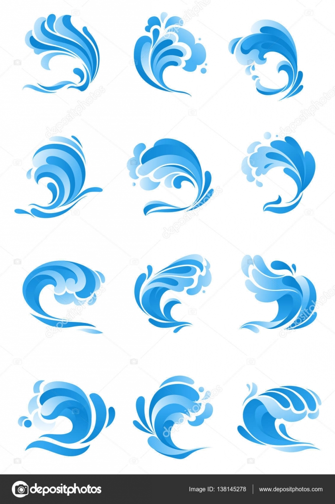 Waves water splashes vector isolated icons stock vector vector isolated symbols of ocean or sea blue water wave in form of splashes stormy curling sea waves tide water rollers foamy stormy curls biocorpaavc