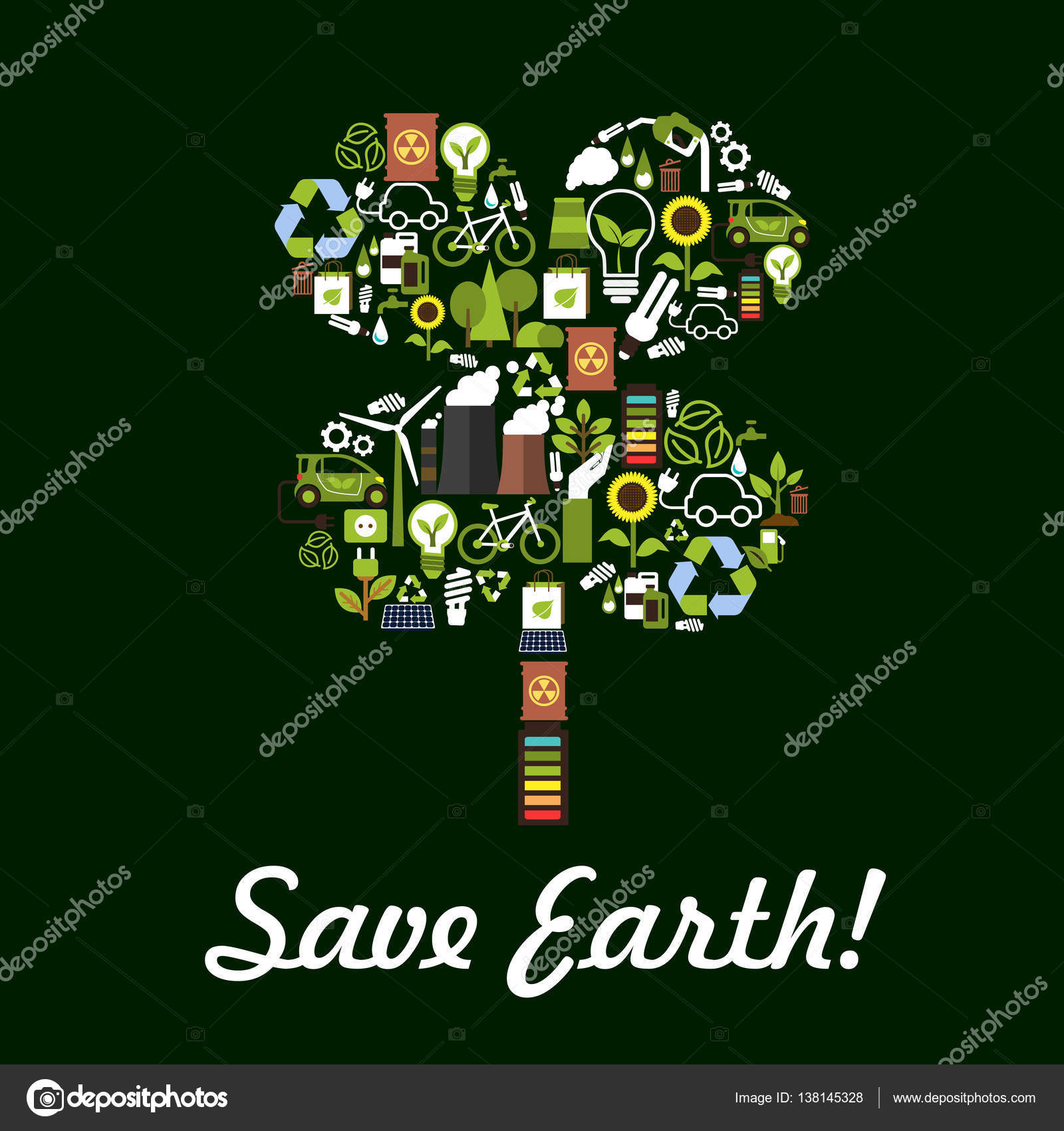 Save Earth Poster Environment Protection Symbol Stock Vector