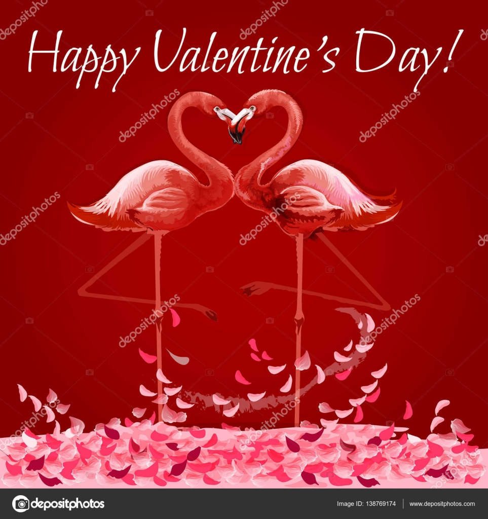Valentine Day card with flamingos love heart — Stock Vector ...