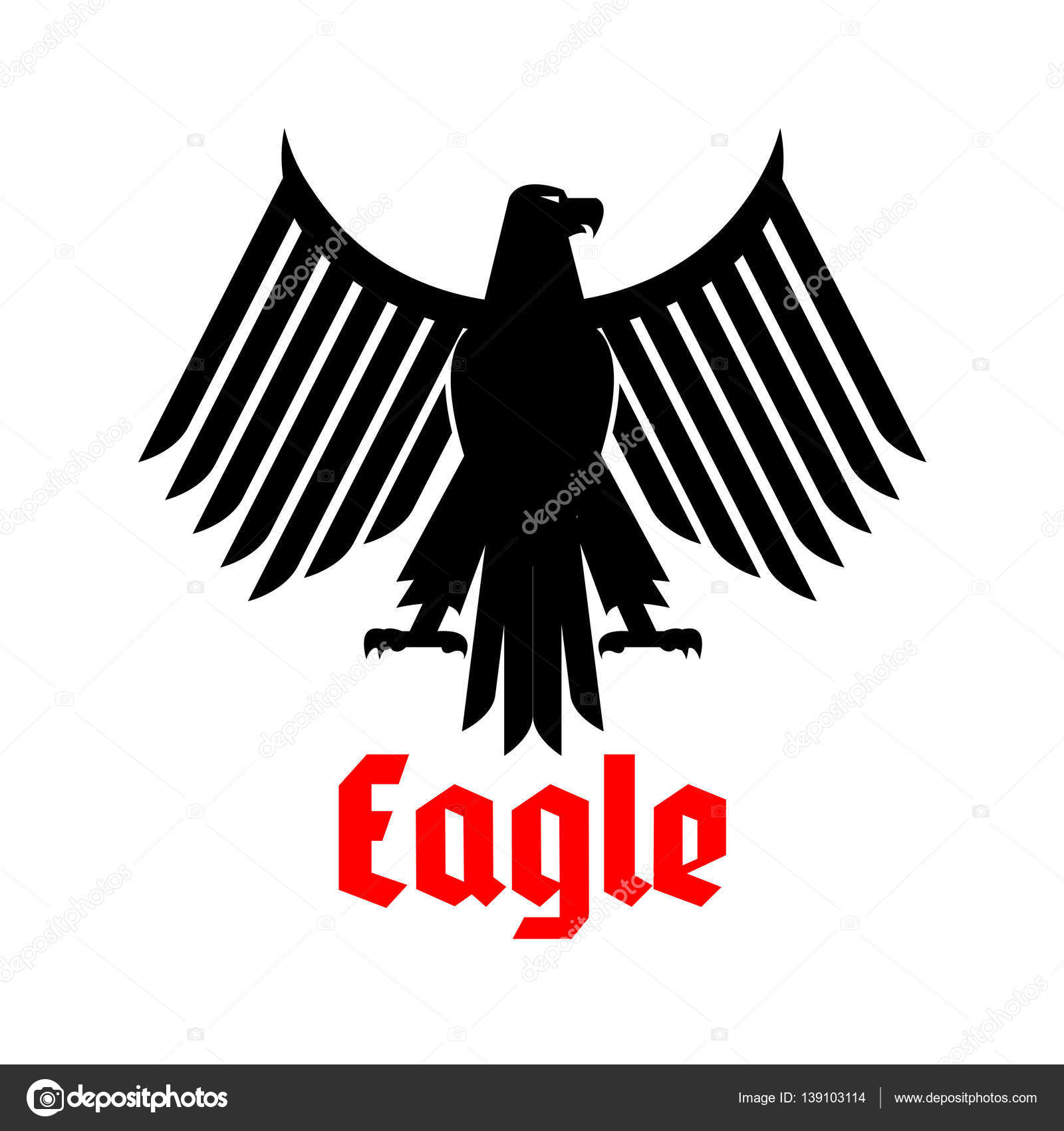 Heraldic icon of black eagle vector sign stock vector black eagle heraldic or crest emblem gothic or imperial falcon or hawk symbol vector isolated icon of sign of phoenix with open spread wings and sharp biocorpaavc Images
