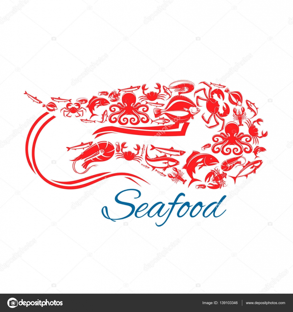 Seafood poster or symbol in shape of shrimp stock vector vector symbol of sea and ocean fish food crab lobster flounder tuna and herring salmon or trout squid and octopus design for seafood cuisine restaurant biocorpaavc Choice Image