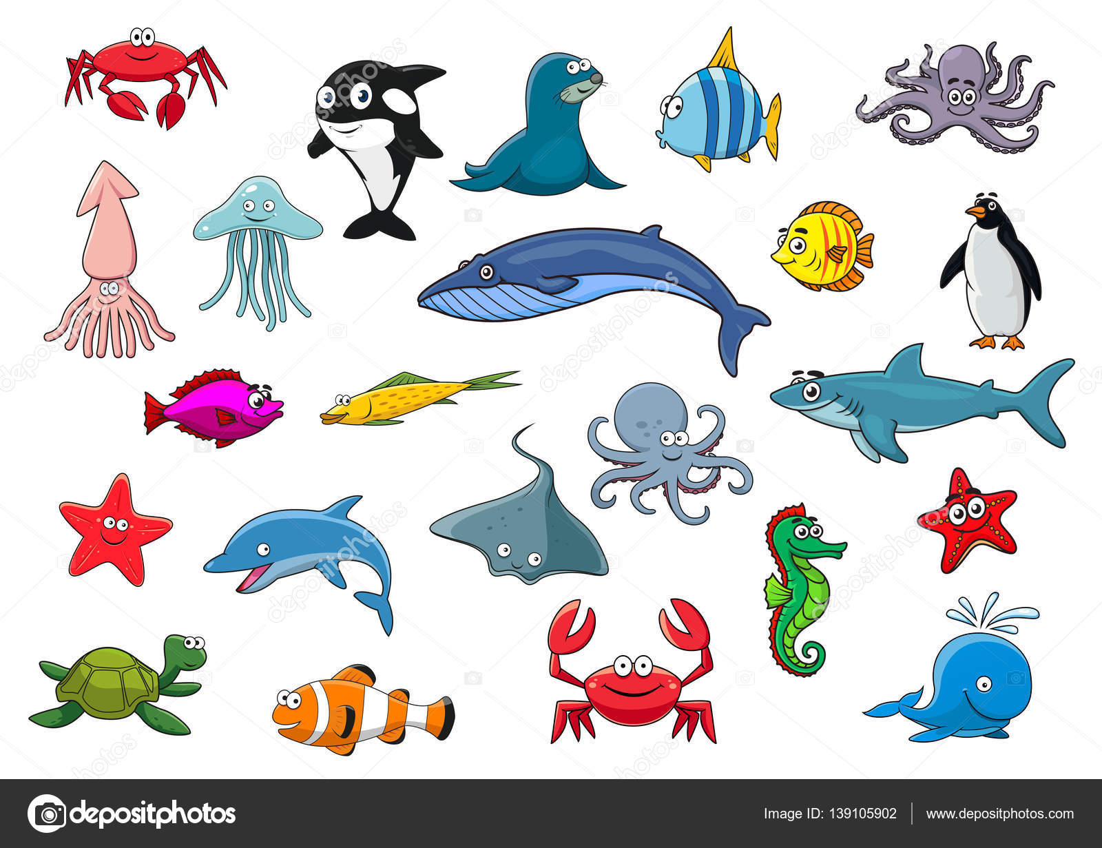Dibujos Animados Mar Peces Mar Animales Vectores Iconos Y