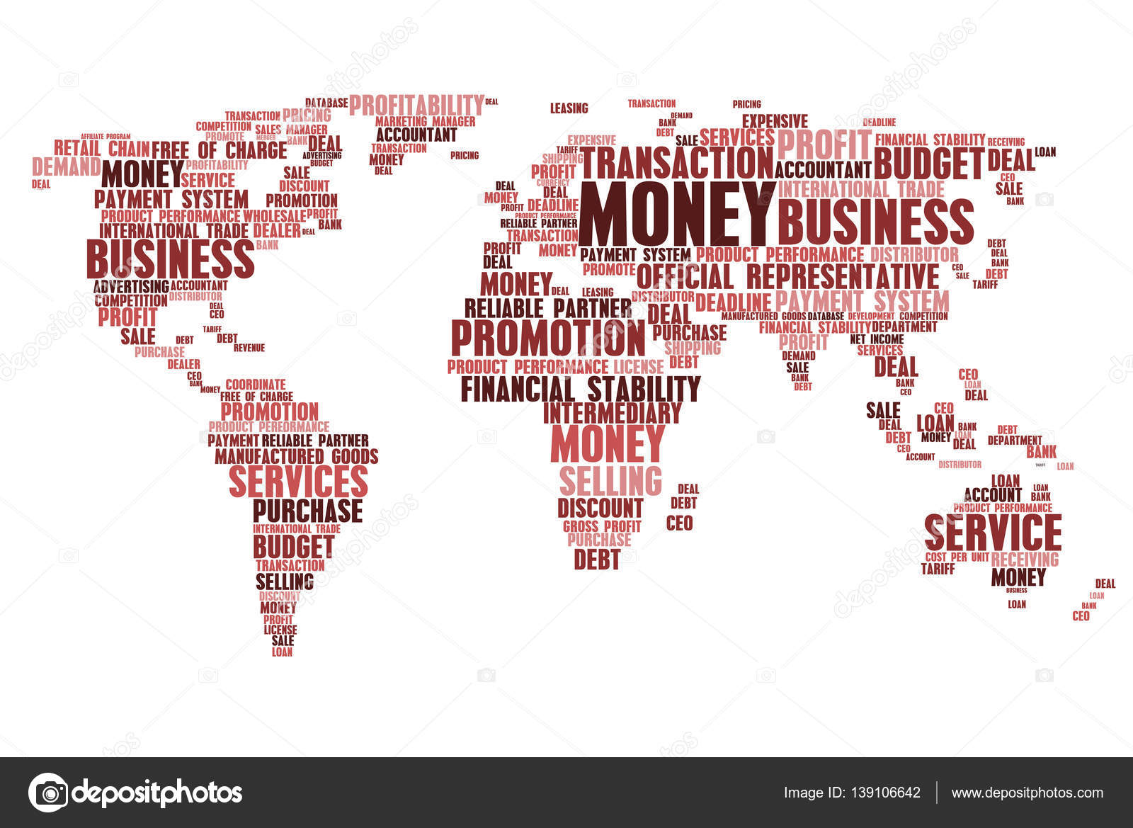 World map of business word cloud tags stock vector seamartini business words in world map word cloud tags concept of marketing budget financial economic stability money loans and finance promotion gumiabroncs Choice Image