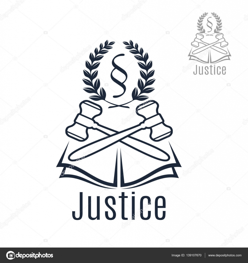 Justice legal vector emblem of gavel wreath book stock vector law icon of judge gavel heraldic laurel wreath and justice legal code silcrow section sign or paragraph symbol on open book lawyer or advocate emblem for buycottarizona Choice Image
