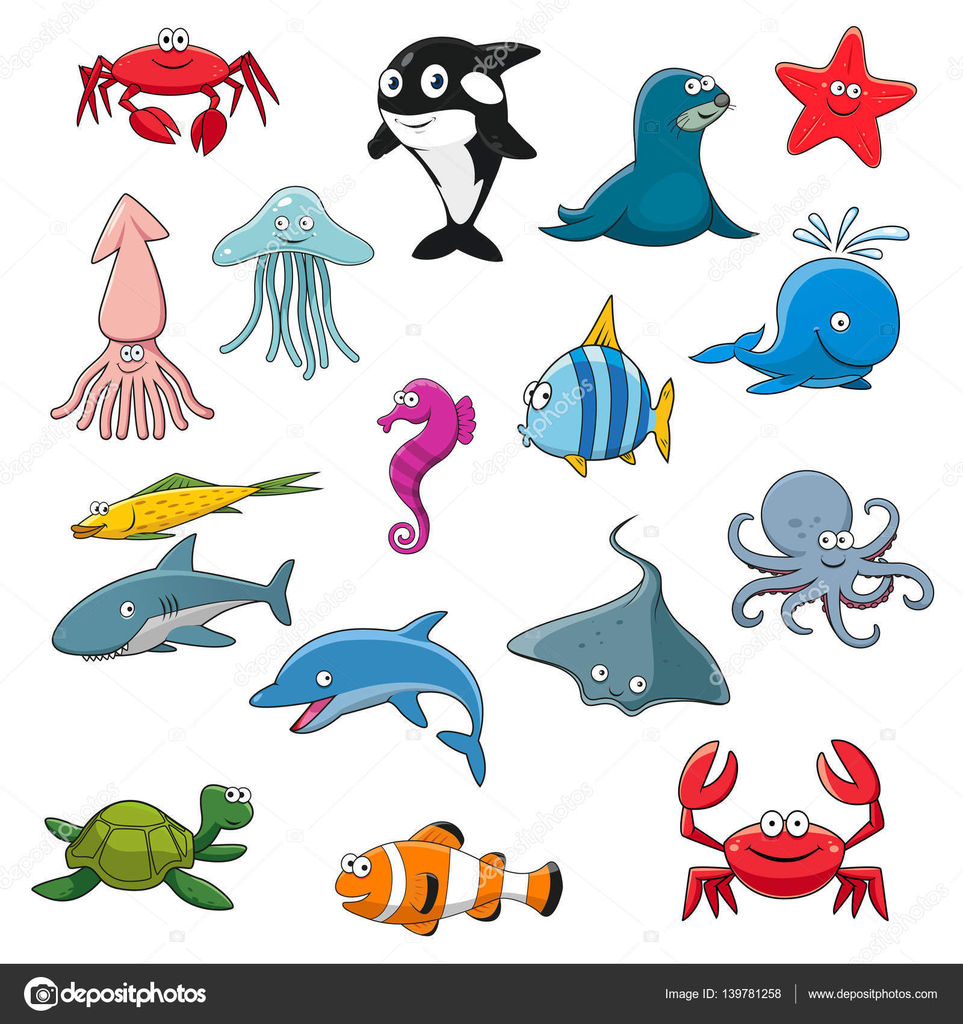 Oceano o mare isolati personaggi dei cartoni animati - Cartoni animati mare immagini ...