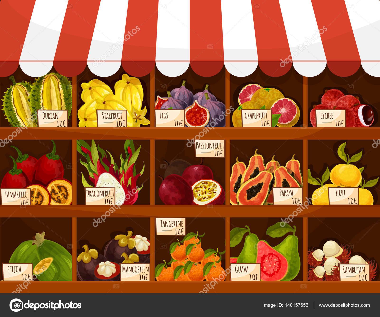 Negozio o mercato frutta esotica vettoriale stand display for Feijoa frutto prezzo