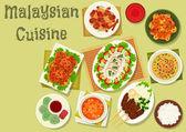 Malajské kuchyně ikona večeře s dezertem