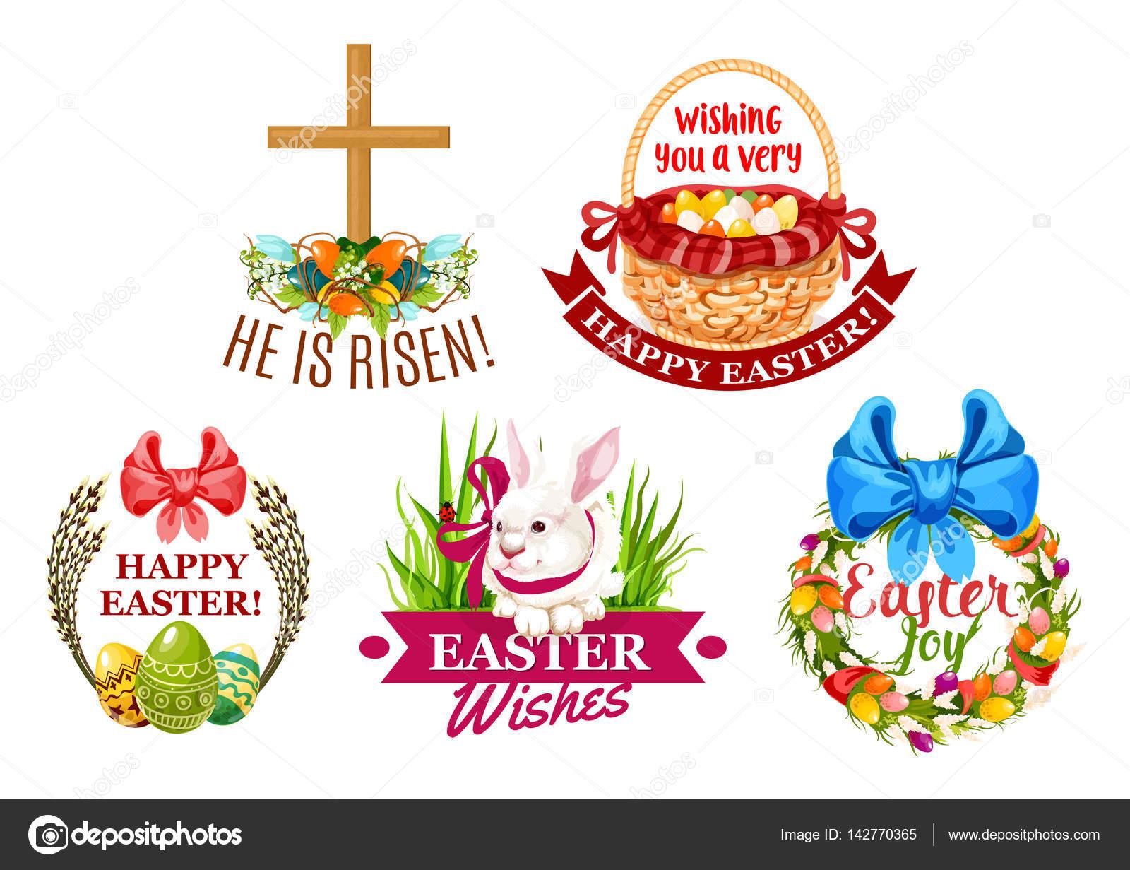 Easter Egg Rabbit Flowers Cartoon Emblem Set Stock Vector