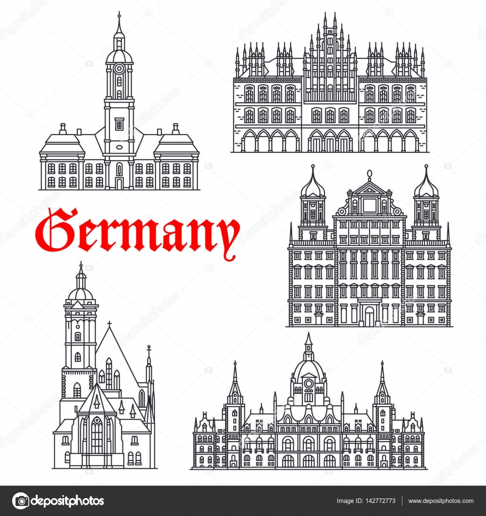 famous architecture buildings. Interesting Architecture Germany Famous Architecture Buildings Vector Icons U2014 Stock Vector On Famous Architecture Buildings C