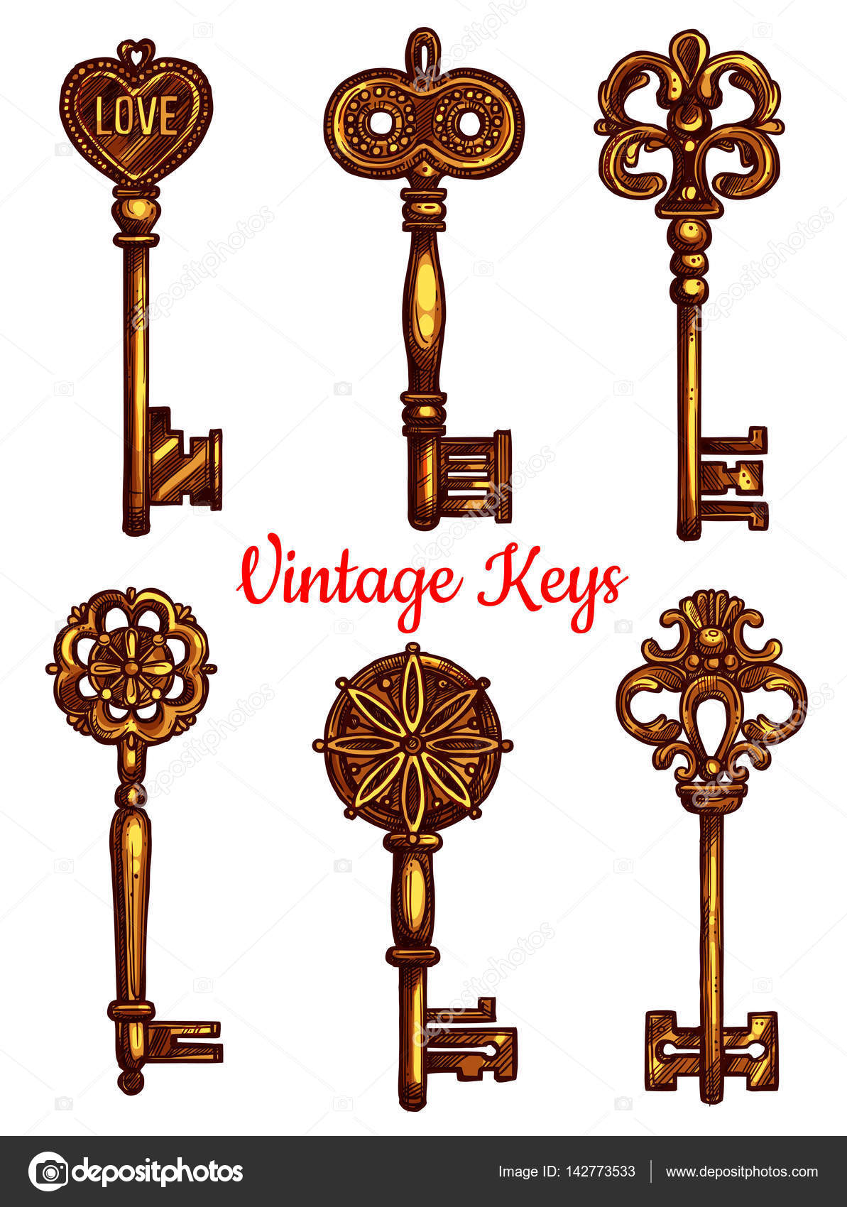 Old Vintage Metal Keys Vector Isolated Icons Set Stock Vector