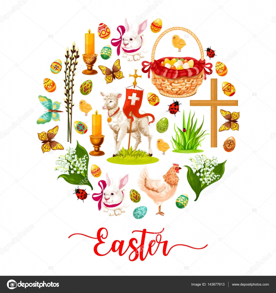Easter Round Poster Made Up Of Cartoon Rabbit Bunny With Ribbon, Easter Egg,  Spring Flower, Egg Hunt Basket, Chicken, Chick, Lamb Of God, Cross, Candle,  ...