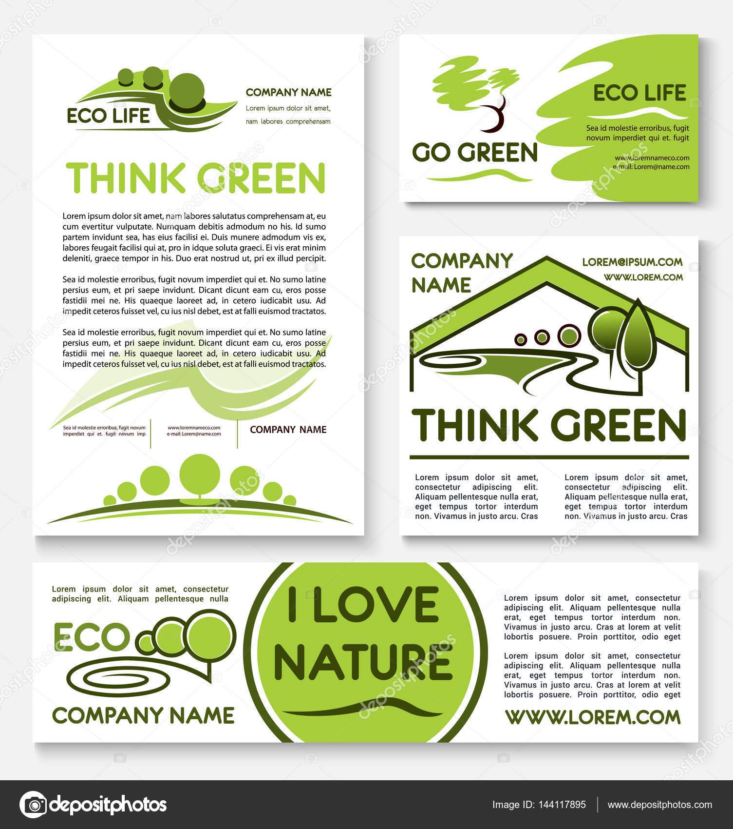 Plantilla de banner de eco negocios verdes escenografía — Vector de ...