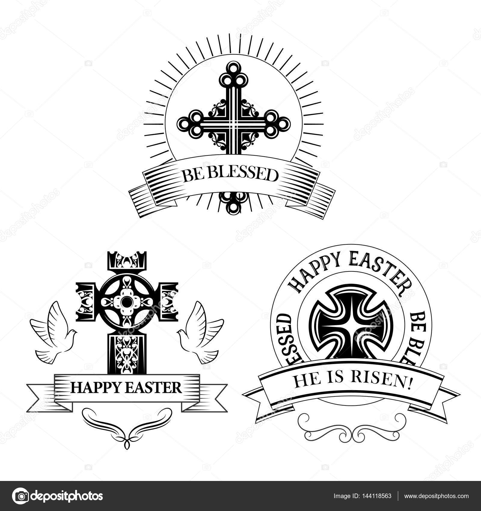 Easter cross vector symbols for paschal greeting stock vector easter symbols of cross and paschal he is risen text be blessed for resurrection sunday greeting card design vector icons of christian catholic or buycottarizona Images
