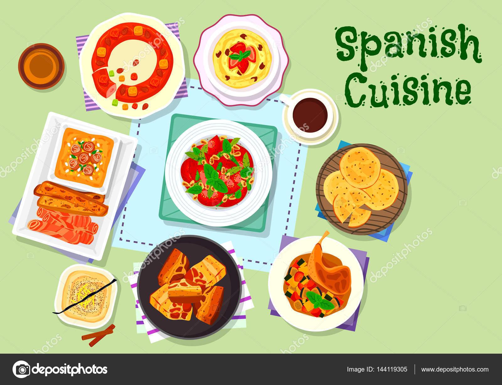 Menú de cocina española con icono de postre — Vector de stock ...