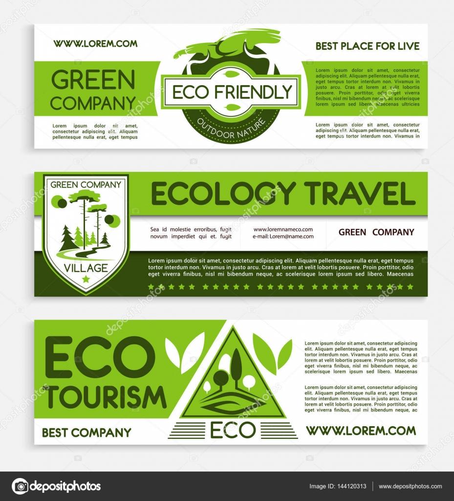 Diseño de plantilla bandera verde viajes y ecoturismo — Archivo ...