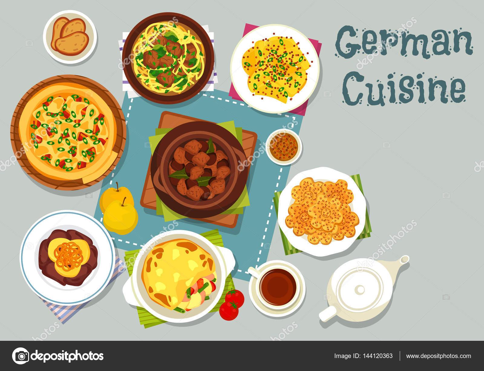 Icono de platos de carne de cocina alemana de diseño de cena ...