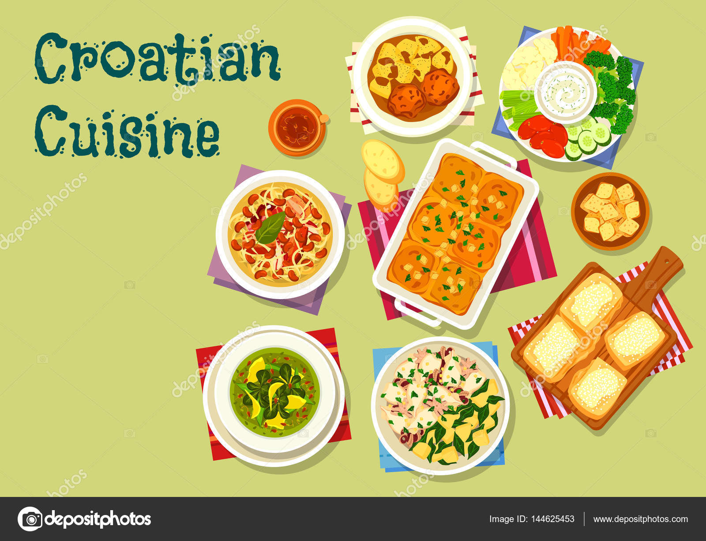 Kuchnia Chorwacka Obiad Ikona Z Owocow Morza I Miesa Grafika