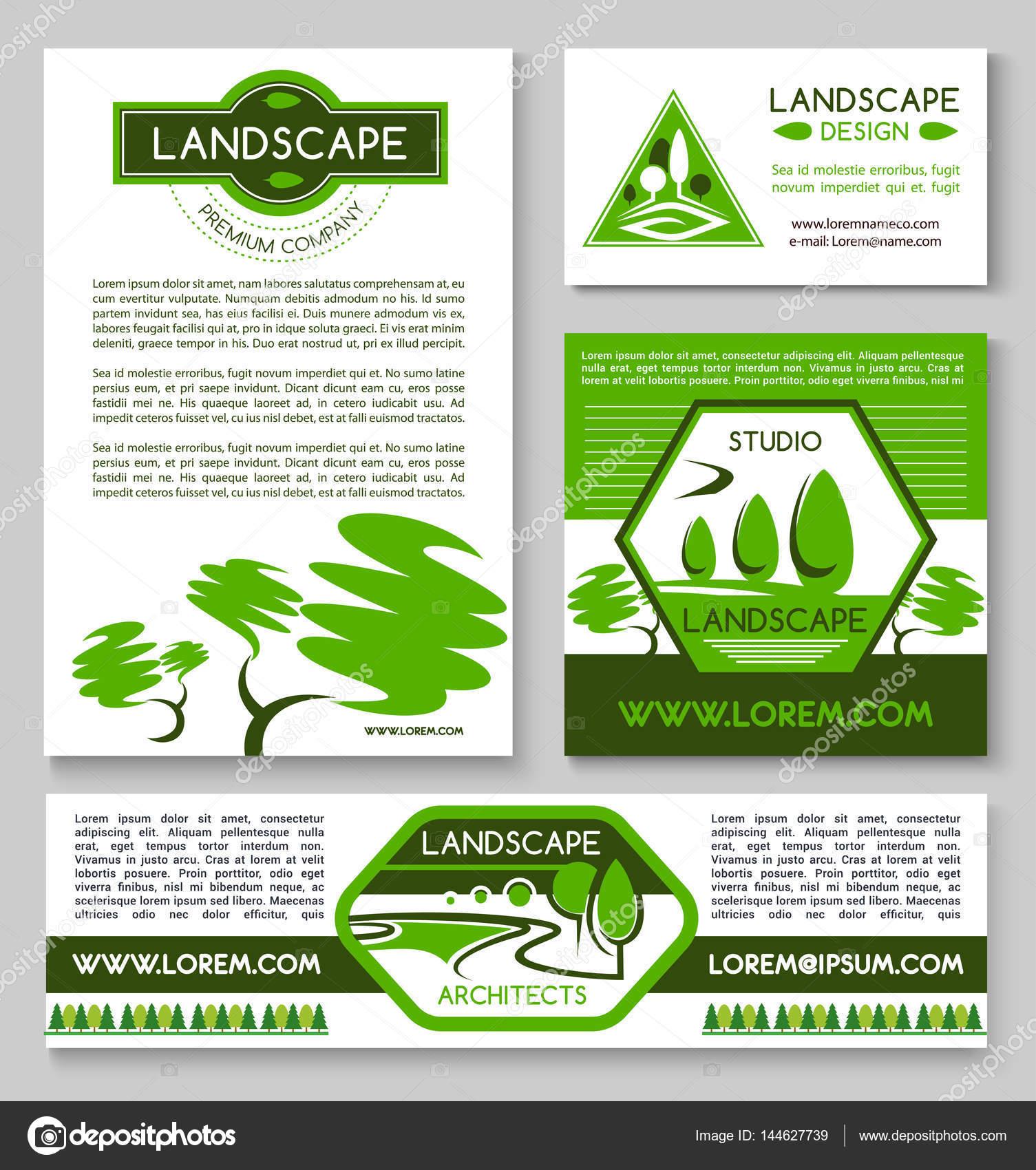 Conjunto de plantillas de paisaje diseño negocio banner — Vector de ...