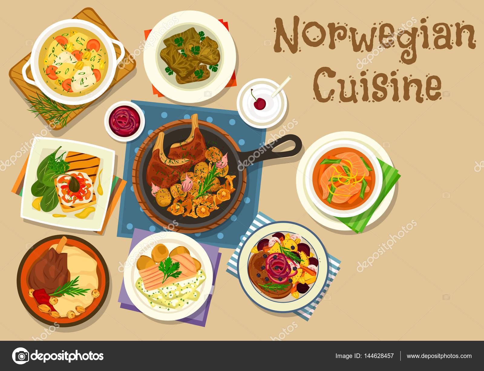 Icône De Plats Viandes Et Poissons Cuisine Norvégienne Image - Cuisine norvegienne