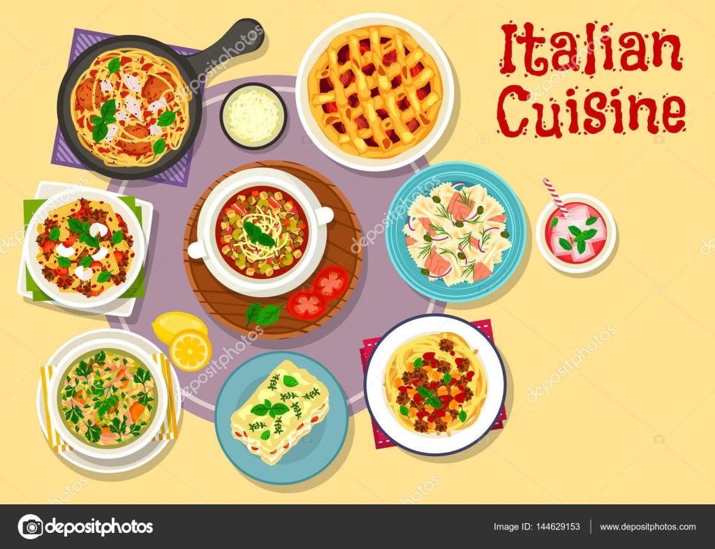 Italienische Küche-Lunch-Menü mit Dessert-Symbol — Stockvektor ...