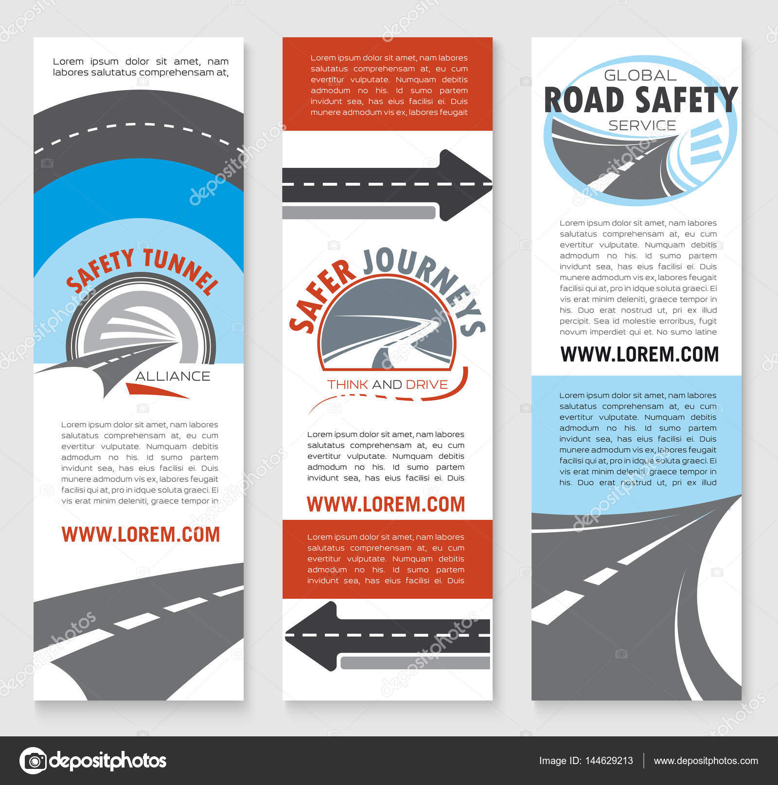 road safety banner template set with highway icons stock vector