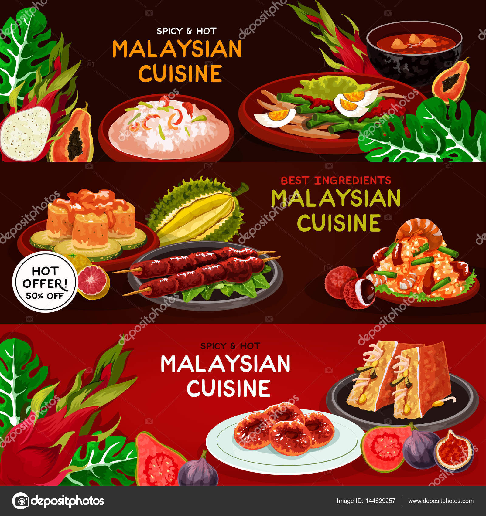 malaysian cuisine restaurant banner set design — stock vector