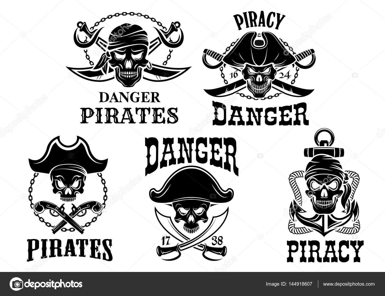 Jolly roger pirate vector icons set stock vector seamartini piracy sailor or robber symbols or emblems of swords sabers and pistol guns ship anchor and buycottarizona